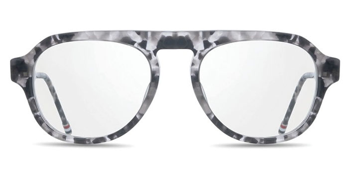 Thom Browne Glasses in London grey tortoise