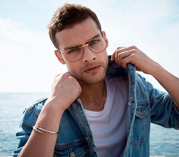 designer glasses London Cartier male model